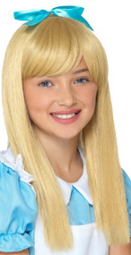 Girls Blonde Wonderland Fancy Dress Wig