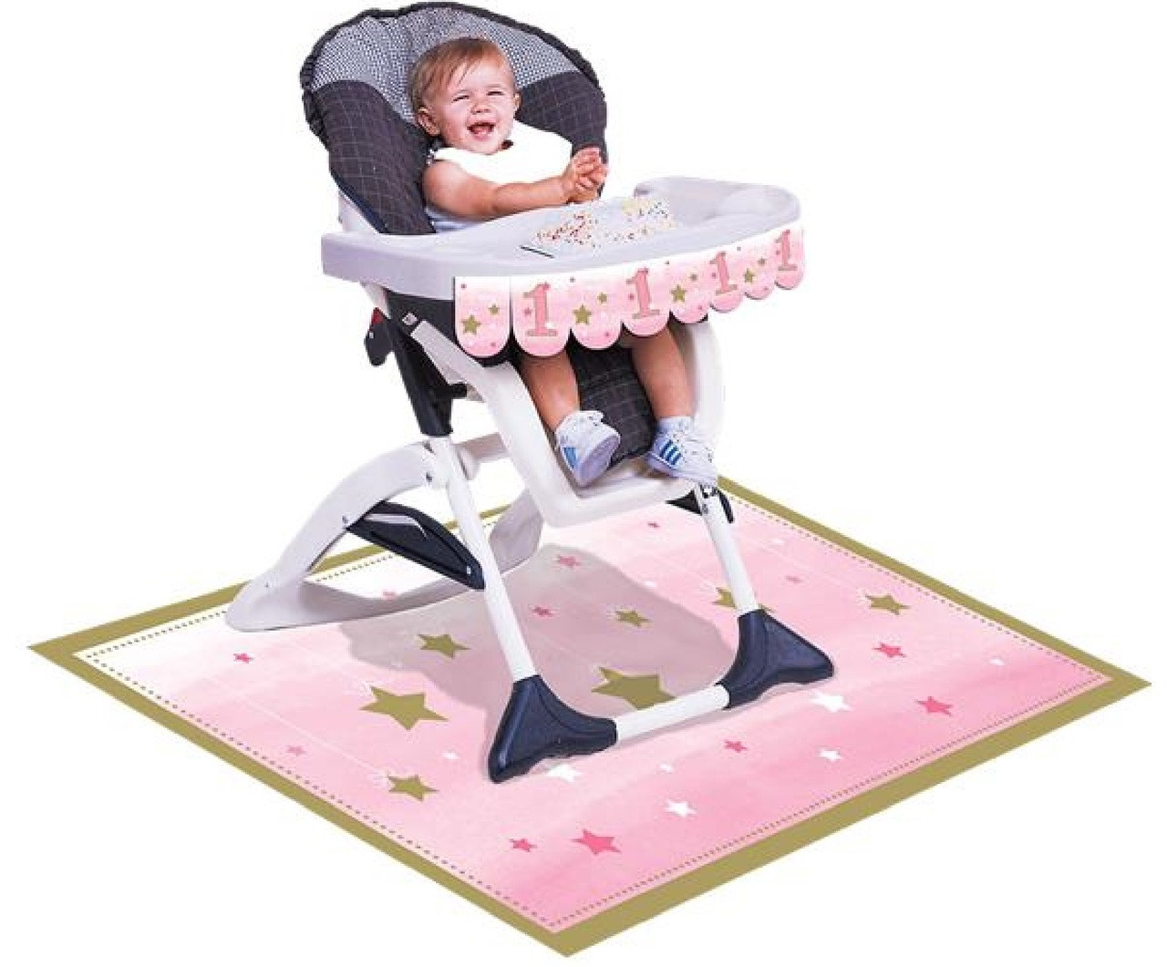 Pink Star 1st Birthday Party Highchair Decorating Kit Image 1