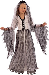 Girls Dark Bride Fancy Dress Costume