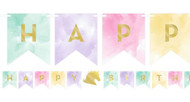Pastel Unicorn Party Flag Banner