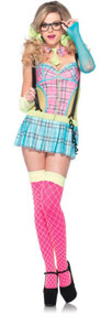 Ladies Day Glow School Girl Fancy Dress Costume
