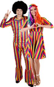 Couples Bright Rainbow Fancy Dress Costume