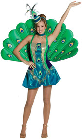 Ladies Deluxe Peacock Fancy Dress Costume