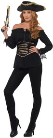 Ladies Deluxe Black Pirate Wench Fancy Dress Shirt
