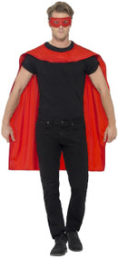 Adults Red Hero Cape & Mask Fancy Dress Kit