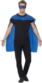 Adults Blue Hero Cape & Mask Fancy Dress Kit