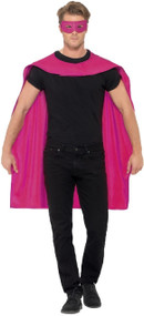 Adults Pink Hero Cape & Mask Fancy Dress Kit