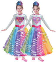 Girls Rainbow Sequin Barbie Fancy Dress Costume