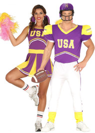 Couples USA  Cheerleader & Quarterback Fancy Dress Costume