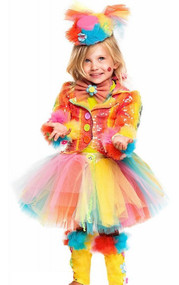 Girls Deluxe Circus Clown Fancy Dress Costume