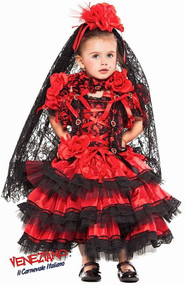 Girls Deluxe Spanish Flamenco Fancy Dress Costume