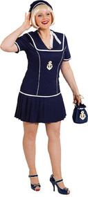 Ladies Navy Nautical Sailor Fancy Dress Costume