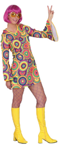 Ladies Bright  60s Fancy Dress Costume