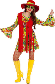 Ladies Vintage Hippy Fancy Dress Costume
