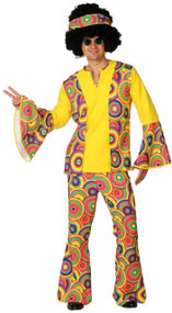 Mens Colourful Hippy Fancy Dress Costume