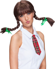 Ladies Brown Plaited Fancy Dress Wig