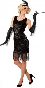 Ladies Black Vintage Flapper Fancy Dress Costume