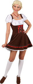 Ladies Sexy Brown Tavern Girl Fancy Dress Costume