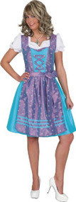 Ladies Blue Bavarian Maid Fancy Dress Costume