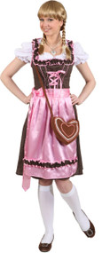 Ladies Pink Bavarian Fancy Dress Costume