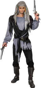 Mens Ghostly Grey Pirate Fancy Dress Costume
