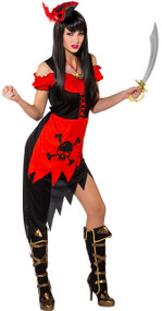 Ladies Red Pirate Babe Fancy Dress Costume