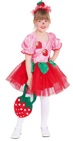 Girls Strawberry Cupcake Fancy Dress Costume