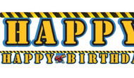 Construction Happy Birthday Party Banner