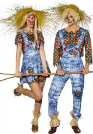 Couples Harvest Scarecrow Fancy Dress Costume