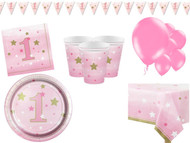 Girls Pink Star 1st Birthday Complete Party Kit
