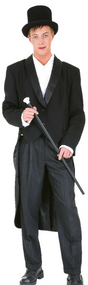 Men's Deluxe Black Showman Fancy Dress Tailcoat