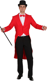 Men's Red Showman Fancy Dress Tailcoat