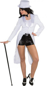 Ladies White Showman Fancy Dress Tailcoat