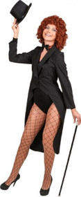 Ladies Deluxe Black Showman Fancy Dress Tailcoat