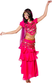 Ladies Traditional Pink Belly Dancer Fancy Dress Costume