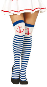 Ladies Striped Anchor Fancy Dress Stockings
