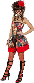 Ladies Sexy Day Of The Dead Fancy Dress Costume