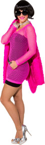 Ladies Neon Pink 80s Fishnet Dress