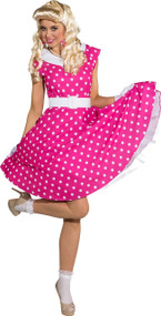 Ladies Pink Polka Dot 50s Fancy Dress Costume
