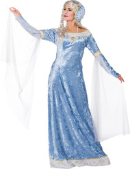 Ladies Blue Renaissance Fancy Dress Costume