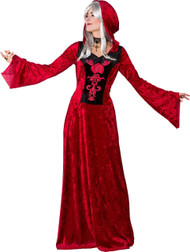 Ladies Red Medieval Lady Fancy Dress Costume