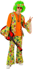 Mens 60s Groovy Hippie Fancy Dress Costume