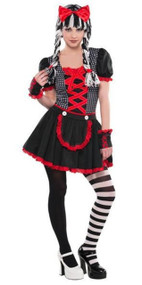 Girls Creepy Gothic Doll Fancy Dress Costume