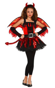Girls Devil Fairy Fancy Dress Costume