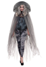 Adults Grey Hooded Fancy Dress Cloak