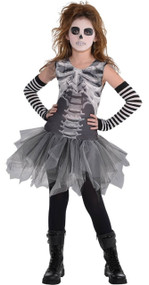 Girls Scary Skeleton Tutu Fancy Dress Costume