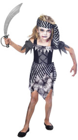 Girls Zombie Pirate Fancy Dress Costume