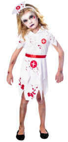 Girls Bloody Zombie Nurse Fancy Dress Costume