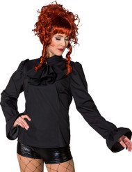 Ladies Black Steampunk Cosplay Fancy Dress Blouse