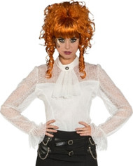 Ladies Deluxe White Lace Steampunk Fancy Dress Blouse